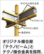 オリジナル複合梁 「テクノビーム」と テクノ接合金具を採用。