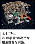 1棟ごとに 388項目※の緻密な 構造計算を実施。